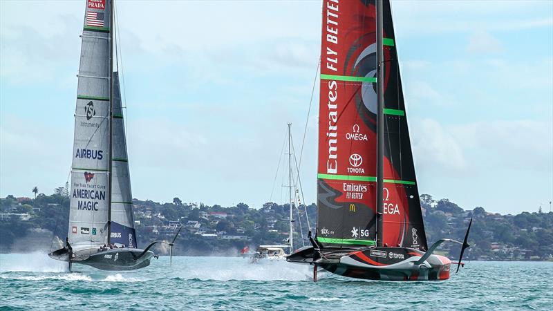 Patriot - American Magic and Te Rehutai - Emirates Team NZ - Practice Day 1 - ACWS - December 8, 2020 - Waitemata Harbour - Auckland - 36th America's Cup - photo © Richard Gladwell / Sail-World.com