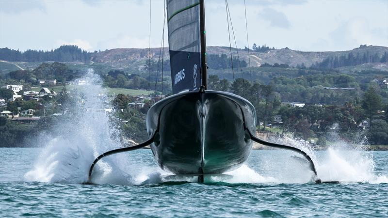 Patriot - American Magic - first rudder ventilation incident - Practice Day 1 - ACWS - December 8, 2020 - Waitemata Harbour - Auckland - 36th America's Cup - photo © Richard Gladwell / Sail-World.com
