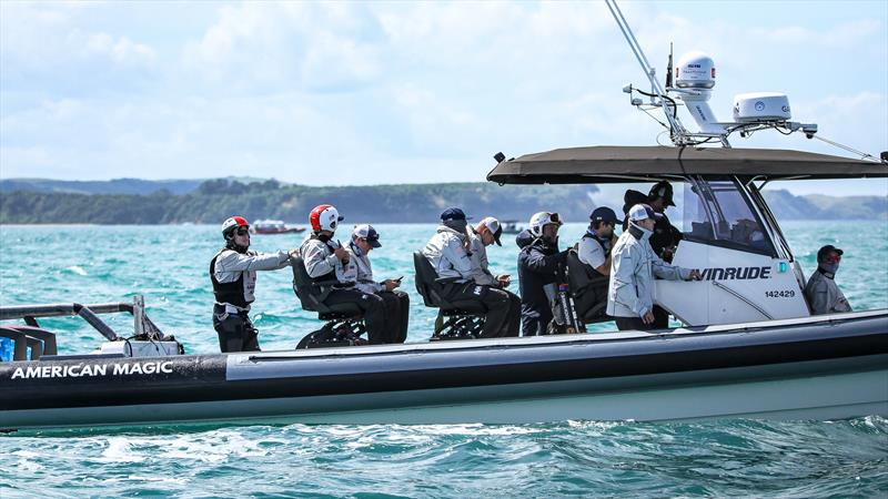 American Magic's sailors wait - Practice Day 1 - ACWS - December 8, 2020 - Waitemata Harbour - Auckland - 36th America's Cup - photo © Richard Gladwell / Sail-World.com