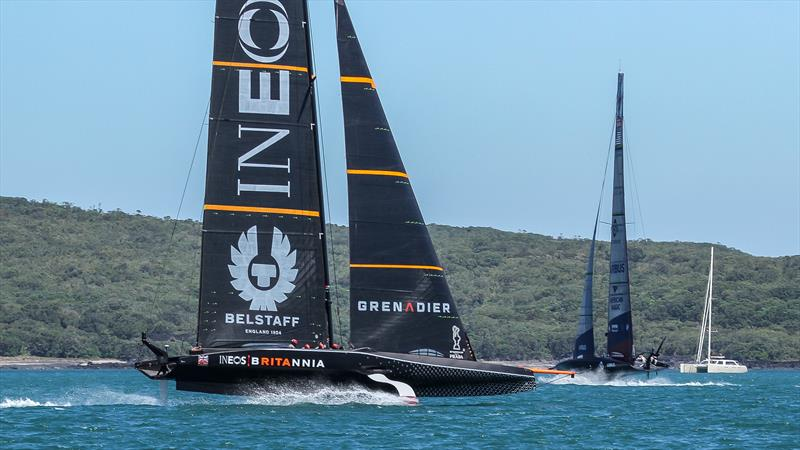 INEOS Team UK chasing American Magic after copping a heft start-line penalty - America's Cup World Series Practice - Waitemata Harbour - December 15, 2020 - 36th Americas Cup - photo © Richard Gladwell / Sail-World.com