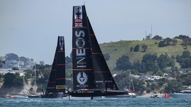 INEOS Team UK behind Luna Rossa - America's Cup World Series - Day 3 - Waitemata Harbour - December 19, 2020 - 36th Americas Cup presented by Prada - photo © Richard Gladwell / Sail-World.com