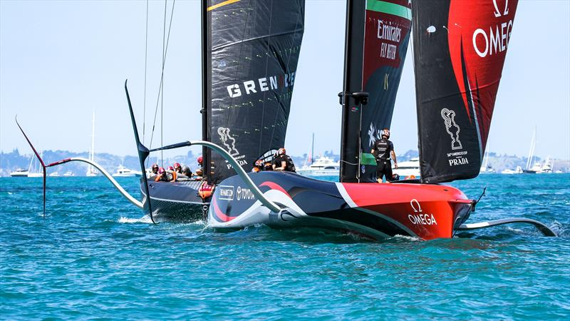 INEOS Team UK and Emirates Team New Zealand - race finish - December 21, 2020 - Waitemata Harbour - America's Cup 36 - photo © Richard Gladwell / Sail-World.com