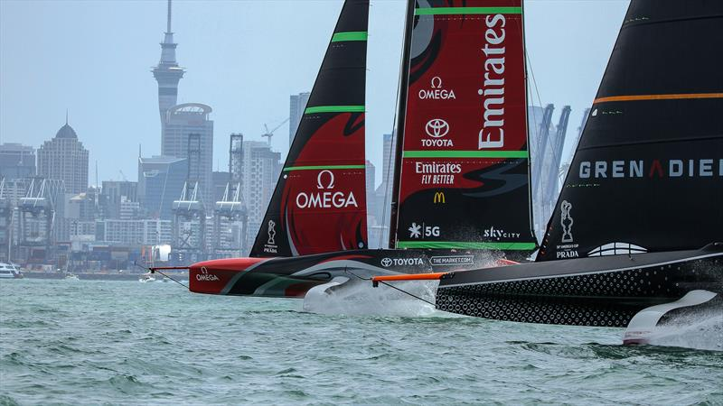 Te Rehutai and INEOS Team UK - December 18, 2020 - Waitemata Harbour - America's Cup 36 photo copyright Richard Gladwell / Sail-World.com taken at Royal New Zealand Yacht Squadron and featuring the AC75 class