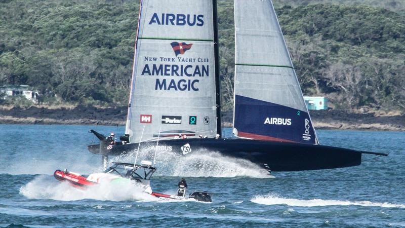 Emirates Team NZ recon boat and American Magic  - Auckland - January 5, 2021 - 36 America's Cup - photo © Richard Gladwell / Sail-World.com