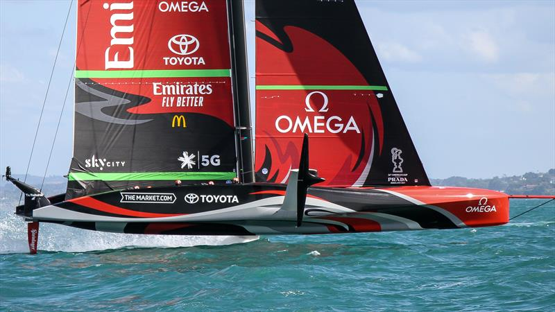 Starboard foil side view -  Emirates Team New Zealand - January 25, 2021 - Waitemata Harbour - America's Cup 36 - photo © Richard Gladwell / Sail-World.com