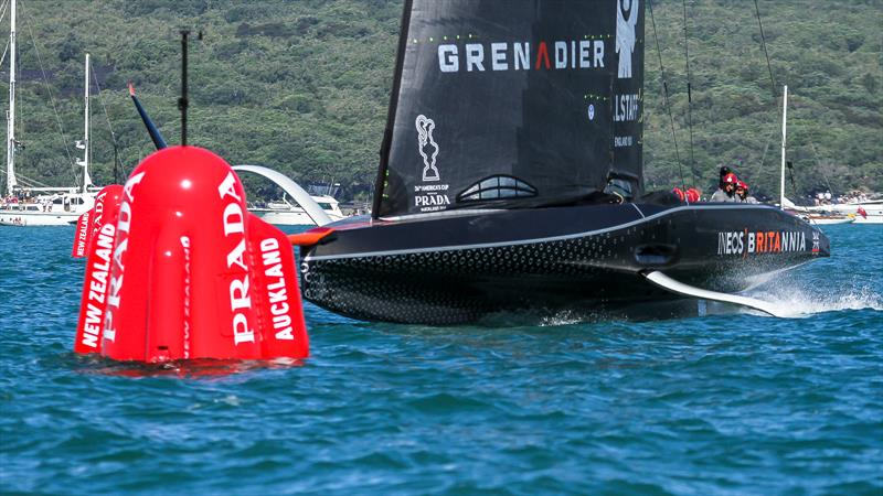 INEOS Team UK crosses the start line but still not foiling - Race 1 - Prada Cup Final - Day 1 - February 13, - America's Cup 36 - photo © Richard Gladwell / Sail-World.com