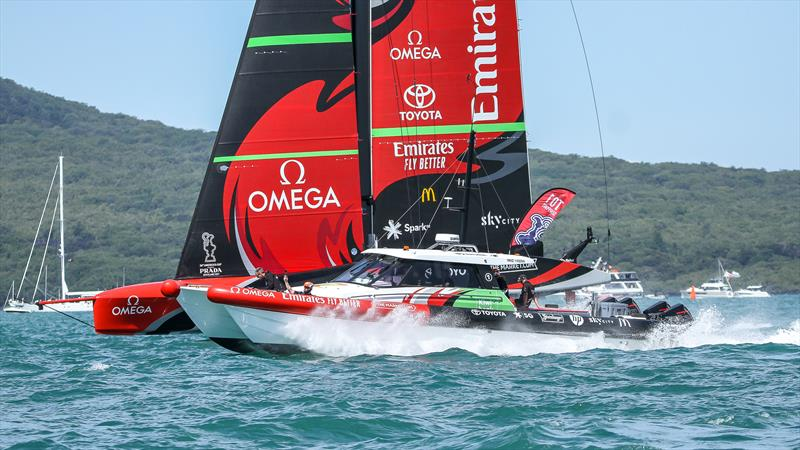 Emirates Team New Zealand just out of a start against their chase boat - February 21, 2021 - America's Cup 36 - photo © Richard Gladwell / Sail-World.com