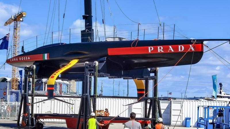 Foil arms and underbody - Luna Rossa, Auckland, February 2021 - America's Cup 36 - photo © Richard Gladwell / Sail-World.com