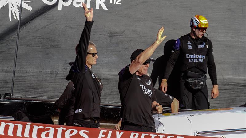 Richard Meacham and Grant Dalton salute the crowd - Emirates Team NZ - America's Cup - Day 7 - March 17, 2021 - photo © Richard Gladwell / Sail-World.com