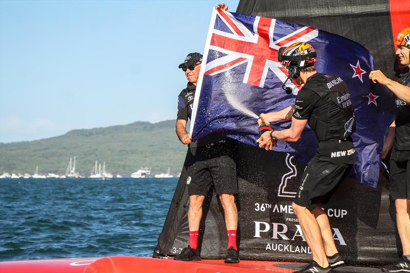 The Chairman get hosed in champagne by the skipper after Emirates Team NZ successful defence of the - America's Cup - Day 7 - March 17, , Course A - photo © Richard Gladwell / Sail-World.com / nz