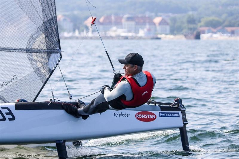 Darren Bundock in the groove ahead of the 2017 A Class Worlds - photo © Gordon Upton
