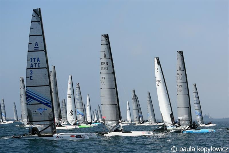 Open Division fleet start on day 1 of the A Class Cat Worlds at the WPNSA - photo © Paula Kopylowicz