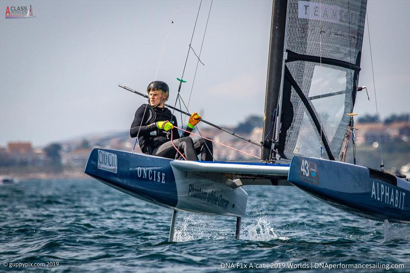 GBR National Champ, Oscar Lindley-Smith on day 3 of the A Class Cat Worlds at the WPNSA photo copyright Gordon Upton / www.guppypix.com taken at Weymouth & Portland Sailing Academy and featuring the A Class Catamaran class