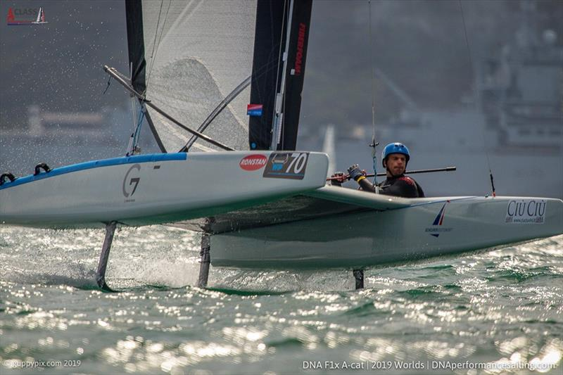 Open top Brit Tom Phipps (GBR) during the A Class Cat Worlds at the WPNSA - photo © Gordon Upton / www.guppypix.com