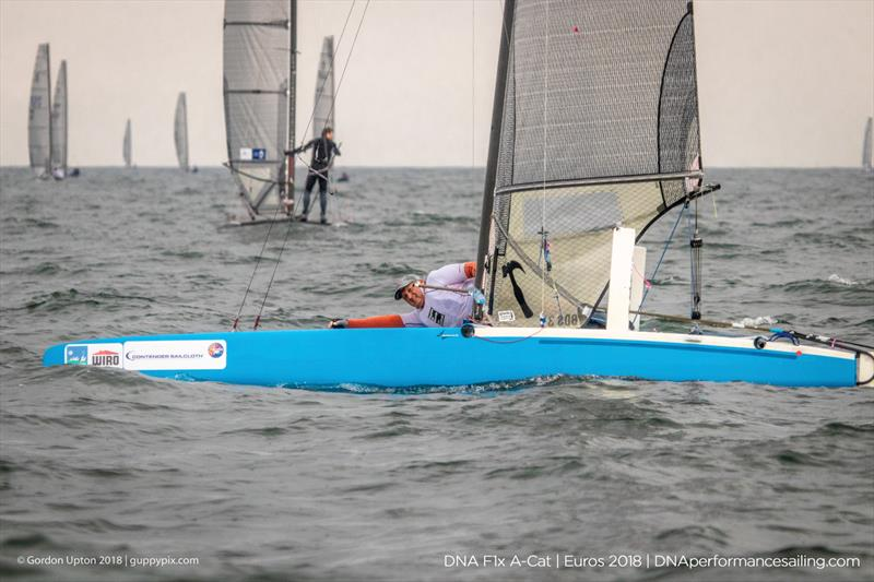 Ex Pat Scott Micky Todd sailed a great race in the classic (non-foiling) Scheurer G6 - Seen here in his low drag mode -  on day 3 of the A Class Catamaran European Championships in Warnemunde - photo © Gordon Upton / www.guppypix.com