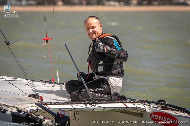 A happy Glenn Ashby with his 10th World title - Final day 2018 A Class Catamaran Worlds, Hervey Bay, Queensland - photo © Gordon Upton / www.guppypix.com