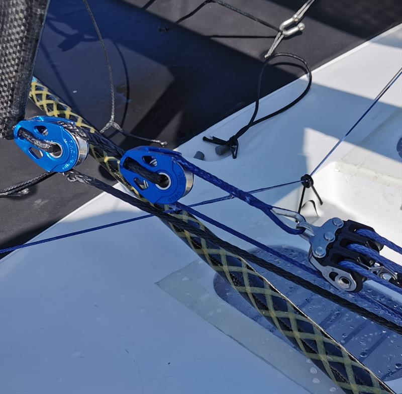 Dylan Fletcher's vang system on his foiling Moth - photo © Allen