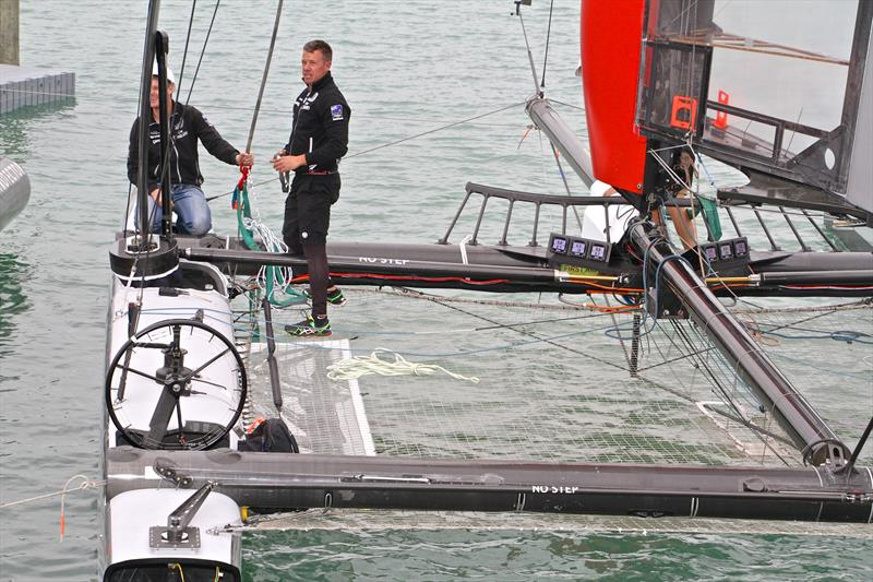 Emirates Team NZ take over Luna Rossa's AC45 foiler, which the Kiwi team modified before starting their 2015 test program. - photo © Richard Gladwell
