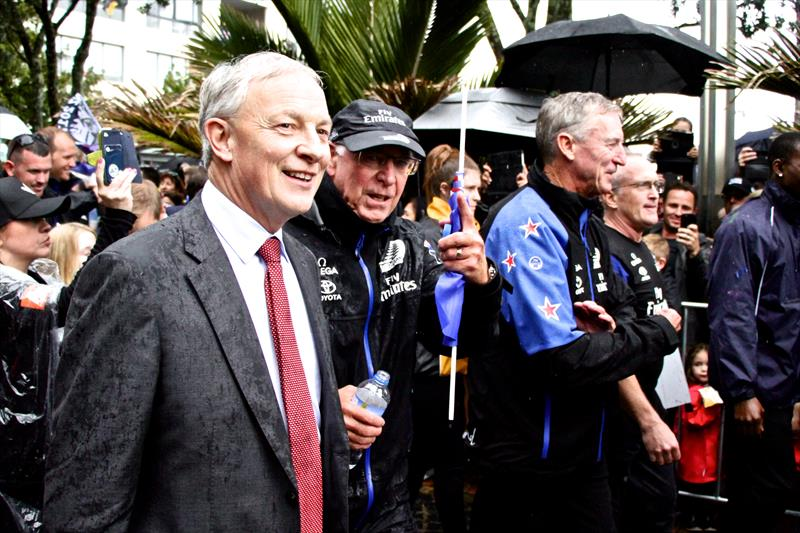 Auckland Mayor and former Labour Cabinet Minister, Phil Goff flanked by ETNZ Board Chairman, Sir Stephen Tindall at the Auckland City America's Cup Victory Parade photo copyright Richard Gladwell taken at New York Yacht Club and featuring the ACC class