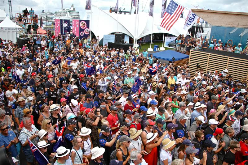 fans pack out the America's Cup Village and ETNZ base area in Bermuda - photo © Richard Gladwell