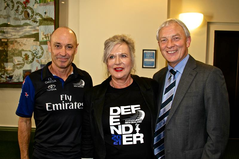 Kevin Shoebridge, Tina Symmans and Mayor Phil Goff after the Auckland Council voted in favour of the new America's Cup proposal - March 29, - photo © Richard Gladwell