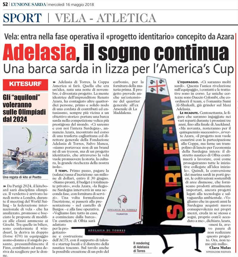Adelasia's challenge is leaked into the Italian media three weeks ago but not confirmed by the team - photo © Adelasia di Torres