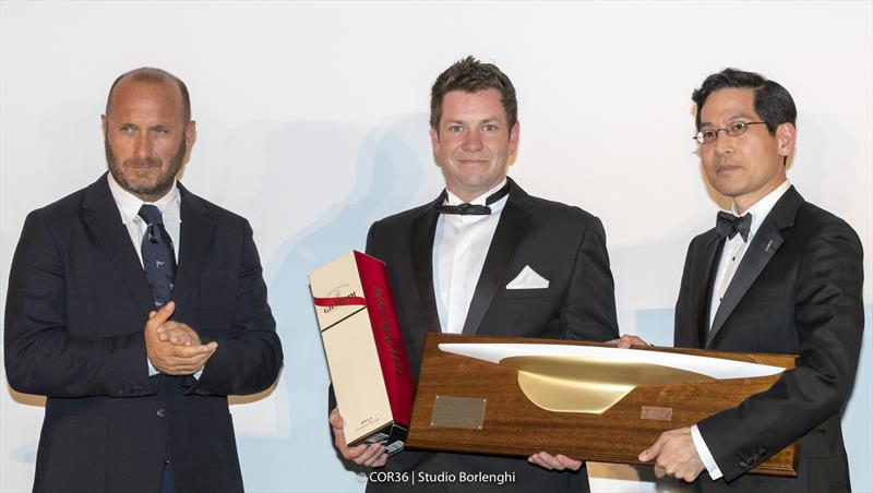 Hall of Fame Induction Syd Fischer. Max Sirena, Brenton Fischer and Steve Tsuchiya - America's Cup Hall of Fame Induction, Royal Yacht Squadron, Cowes IOW, August 31, 2018 - photo © Carlo Borlenghi