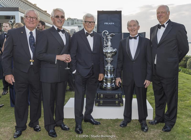 Bruno Trouble, John Marshall, Patrizio Bertelli, Tom Schnackenberg and Gary Jobson - America's Cup Hall of Fame Induction, Royal Yacht Squadron, Cowes IOW, August 31, 2018 - photo © Carlo Borlenghi