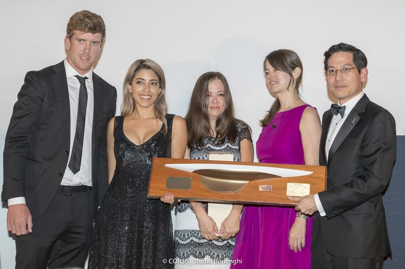 Hall of Fame Induction Doug Peterson. Peter Burling, Laura Jane Peterson, Julia Peterson and Jamie Peterson with ACHoF Chairman, Steve Tsuchiya - America's Cup Hall of Fame Induction, Royal Yacht Squadron, Cowes IOW, August 31, 2018 - photo © Carlo Borlenghi