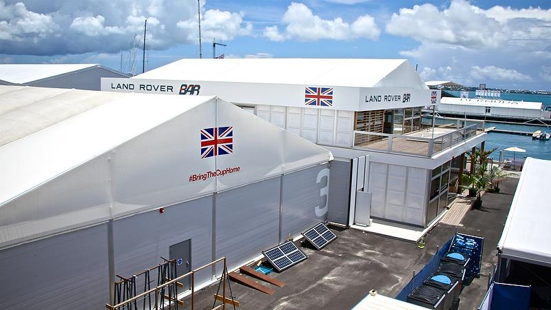 Land Rover BAR had a mix of two boat hangars and a team hospitality area in Bermuda - photo © Richard Gladwell
