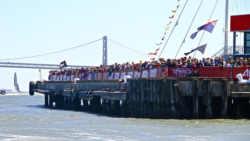 Fans are expected to crown vantage points on wharves around the Auckland America's Cup bases, as the did in San Francisco - photo © Richard Gladwell