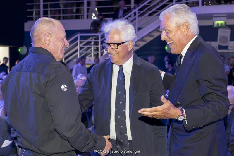 Grant Dalton, CEO Emirates Team New Zealand Patrizio Bertelli, CEO Prada Group Marco Tronchetti Provera, CEO Pirelli - photo © Carlo Borlenghi
