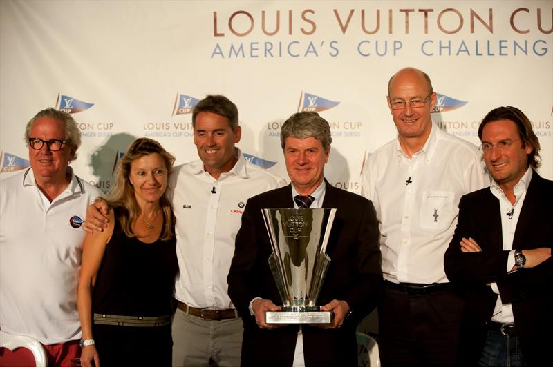 Bruno Trouble, Christine Belanger, Russell Coutts, Yves Carcelle with the Louis Vuitton Cup, ACEA's Richard Worth, Pietro Beccari (LV) in Dubai - photo © Paul Todd, Outside Images