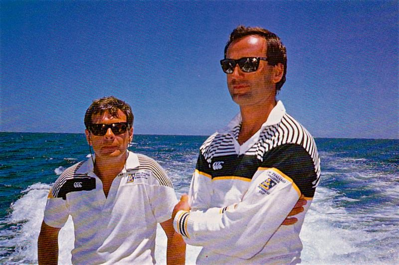 Laurent Esquier (right) as New Zealanders will remember him at the 1987 Louis Vuitton Cup in Fremantle with ace PR man Peter Debreceny (left) - photo © Bruce Jarvis - FotoPacific