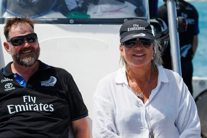 Tina Symmans with fellow ACE Board Member, Greg Horton aboard an ETNZ chase boat in Bermuda - photo © Emirates Team New Zealand
