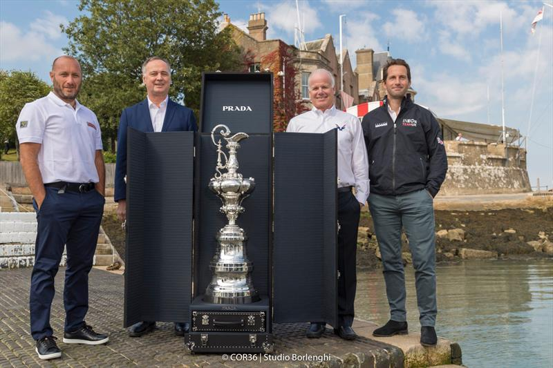 The America's Cup with the new Prada case. Max Sirena, skipper of Luna Rossa Laurent Esquier, CEO of COR 36 Terry Hutchinson, skipper of American Magic Ben Ainslie, skipper of INEOS Team UK - photo © Carlo Borlenghi