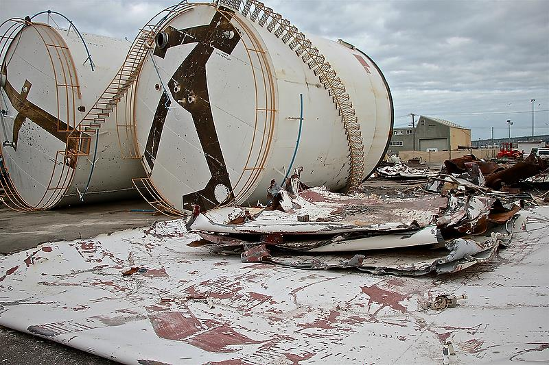 Tanks waiting to be crushed - Repairs and Rectification - Wynyard Wharf - Auckland - October 25, 2018 - photo © Richard Gladwell