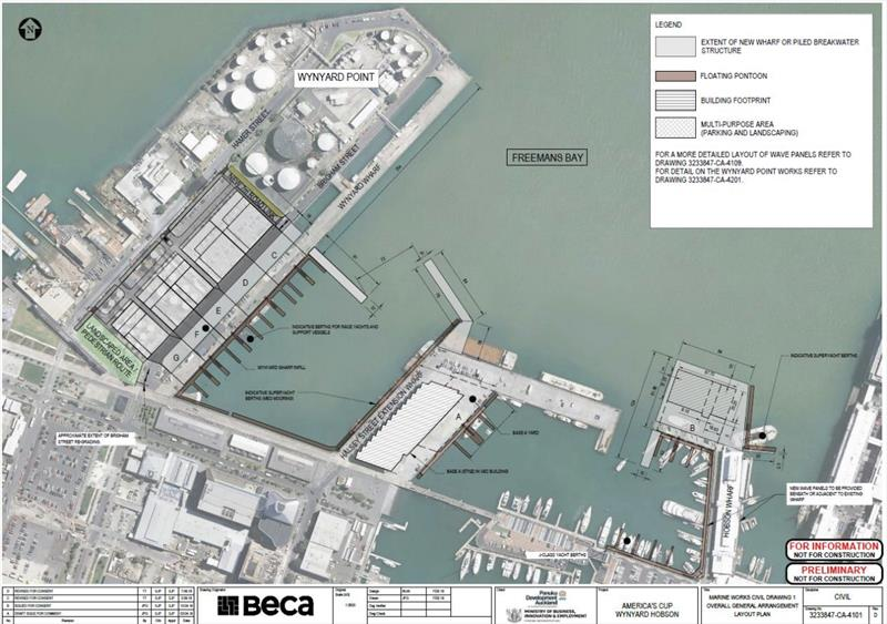 Bases Plan for Auckland showing three double bases (B,C,D and three single E, F, G) - photo © Panuku Developments
