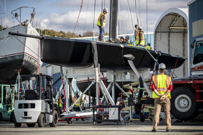 `The Mule` American Magic's surrogate boat preparing for her first sail - photo © Amory Ross