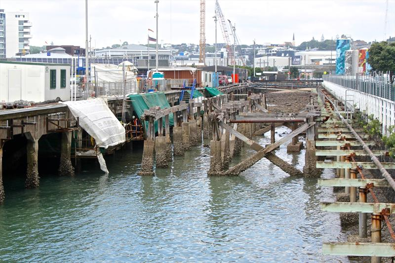 Remediation underway - Wynyard Wharf - America's Cup bases - January 30, 2019 - photo © Richard Gladwell