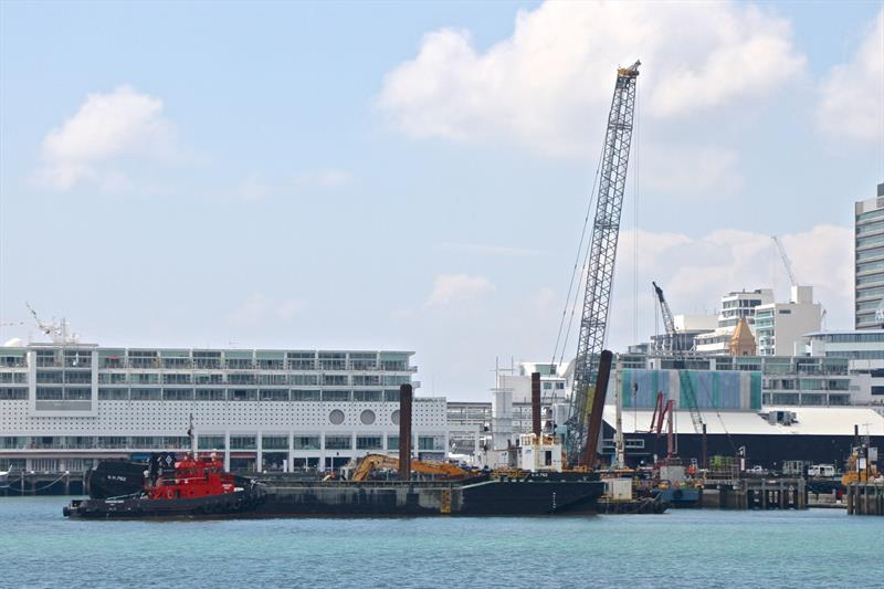 Barge and crane at work on Hobson Wharf extensions for Luna Rossa base - America's Cup bases - January 30, 2019 - photo © Richard Gladwell