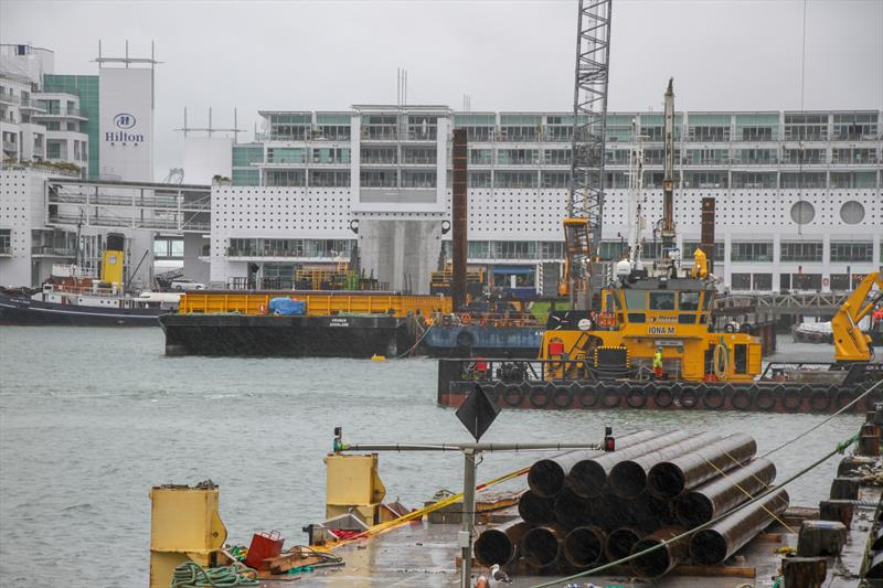 Pile driving at the end of Hobson Wharf - location of Luna Rossa base - America's Cup Bases, Auckland, March 8, 2019 - photo © Richard Gladwell