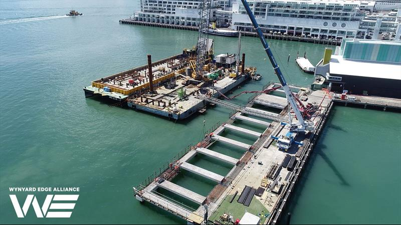 Precast headstocks being fitted onto Piles - Hobson Wharf extension - America's Cup base development - Wynyard Edge Alliance - Update March 28, 2019  - photo © Wynyard Edge Alliance