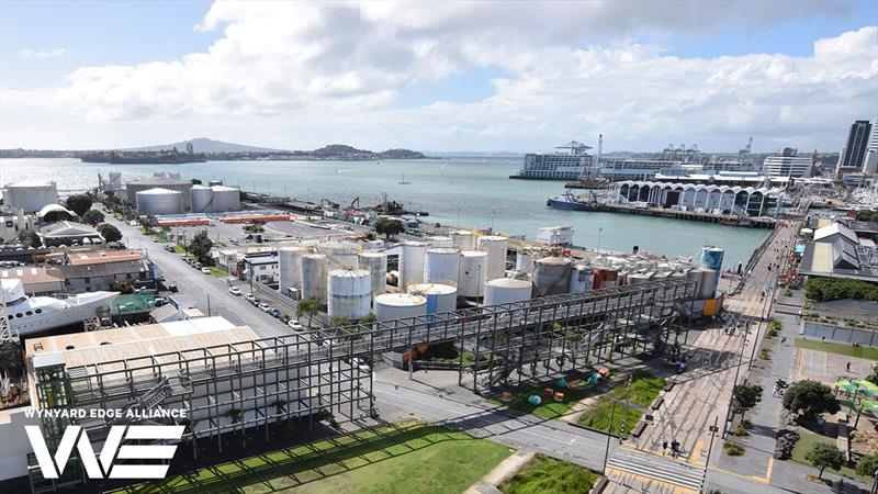 The tanks in the foreground will be removed in Phase 2 to create bases E F and G - Wynyard Point - America's Cup base development - Wynyard Edge Alliance - Update March 28, 2019  - photo © Wynyard Edge Alliance