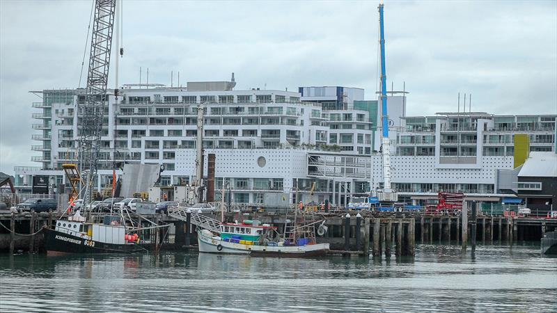 Princes Wharf and the Hilton Hotel are the worst affected by base construction noise - America's Cup base development - Wynyard Edge Alliance - Update March 28, 2019  - photo © Richard Gladwell