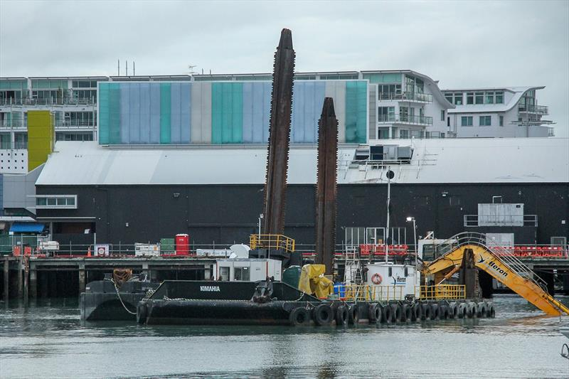 Dredging alongside Hobson Wharf- America's Cup base development - Wynyard Edge Alliance - Update March 28, 2019  - photo © Richard Gladwell