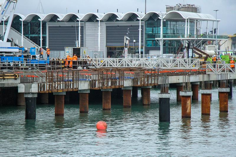 Rows of piles being driven for the Luna Rossa Base on the Hobson Wharf Extension. ETNZ base in the background - Wynyard Point - America's Cup base development - Wynyard Edge Alliance - Update March 28, 2019  - photo © Richard Gladwell