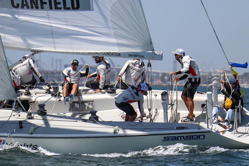 Stars and Stripes Team USA's Taylor Canfield on the way to victory in the 2018 Congressional Cup - photo © LBYC