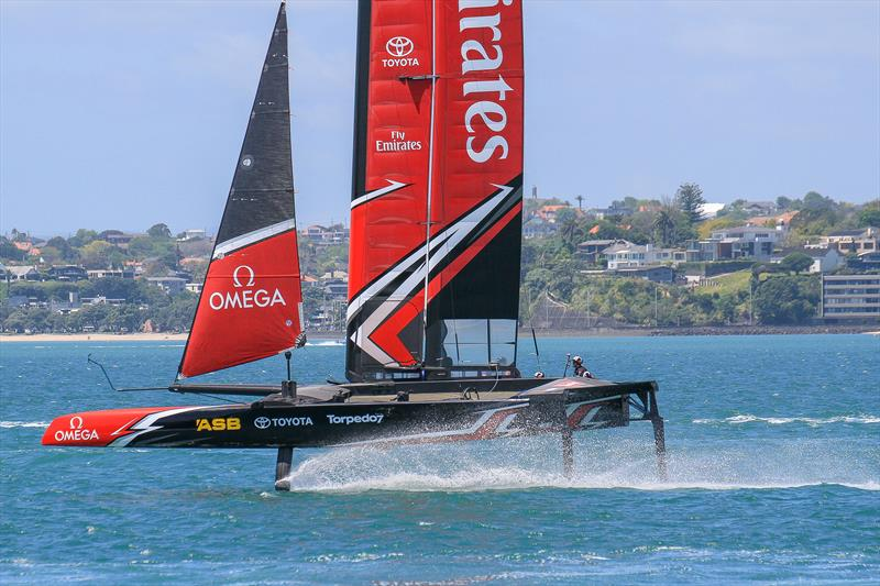 Although Emirates Team New Zealand was near last to launch their test boat (other teams were on their fourth) they were able to make a big jump by using the articulated rudder, and AC50  crossbeams to mimic the physics of an AC50. - photo © Richard Gladwell