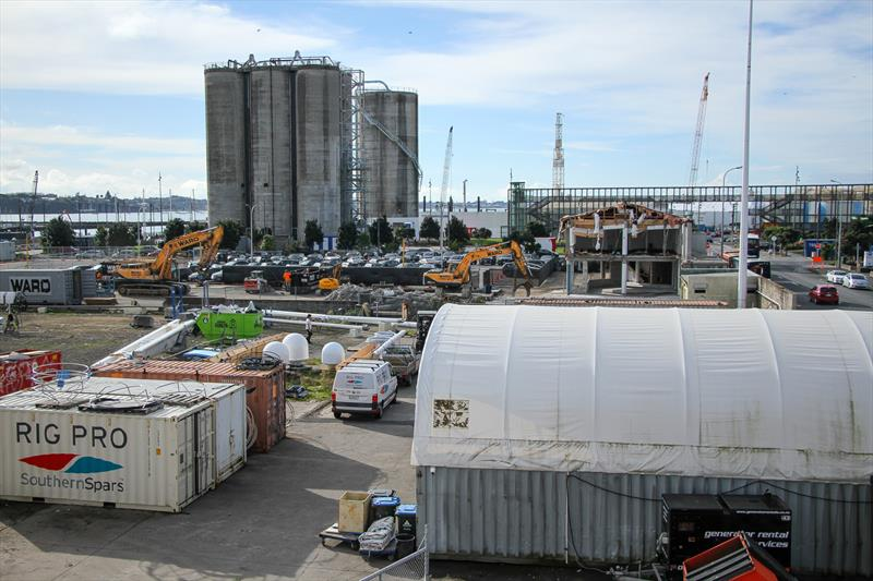 Emirates Team New Zealand's old base building is part demolished as part of the Site 18 superyacht development - America's Cup Base development - Auckland - Wynyard Edge Alliance - July 25, 2019 - photo © Richard Gladwell, Sail World NZ